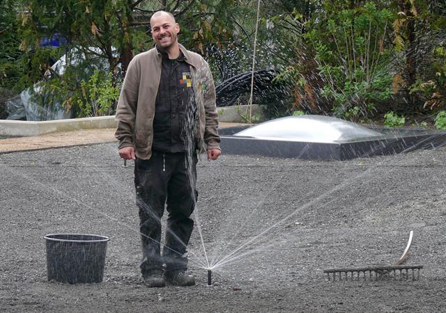 Mike Pjede, Spezialist für Bewässerungsanlagen.