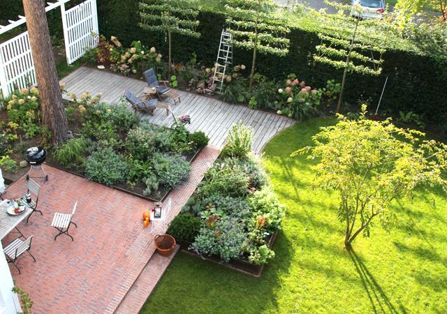 Aus der Vogelperspektive erkennt man die verscheidenen Gartenbereiche.