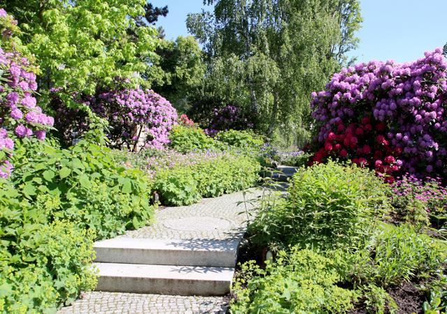 Gartentreppe aus hellem Granit.
